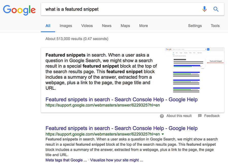google snippet - part one - example