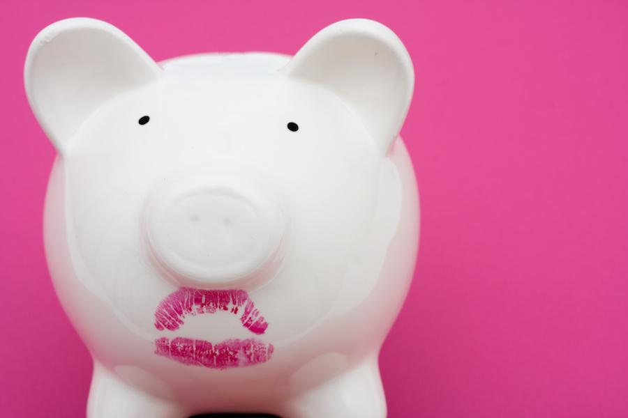 Pig wearing lipstick